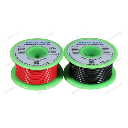 BNTECHGO 20 AWG 1007 Electric wire Red and Black Each Color 25 ft Per Reel For DIY