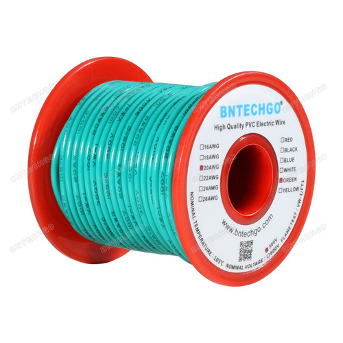 BNTECHGO 20 AWG 1007 Electric wire Green 100 ft Per Reel For DIY