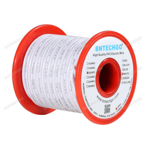 BNTECHGO 20 AWG 1007 Electric wire White 100 ft Per Reel For DIY