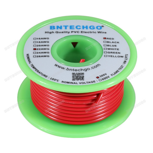 BNTECHGO 22 AWG 1007 Electric wire 22 Gauge PVC 1007 Wire Solid Wire Hook Up Wire 300V Solid Tinned Copper Wire Red 50 ft Per Reel For DIY