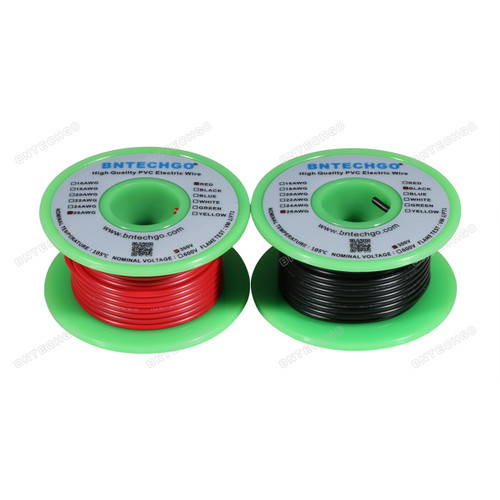 BNTECHGO 26 AWG 1007 Electric wire 300V Stranded Tinned Copper Wire Red and Black Each Color 25 ft Per Reel For DIY