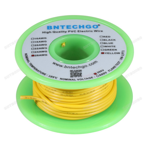 BNTECHGO 26 AWG 1007 Electric wire 300V Stranded Tinned Copper Wire Yellow 50 ft Per Reel For DIY