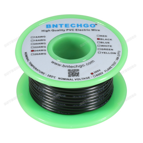 BNTECHGO 24 AWG 1007 Electric wire 300V Stranded Tinned Copper Wire Black 25 ft Per Reel For DIY