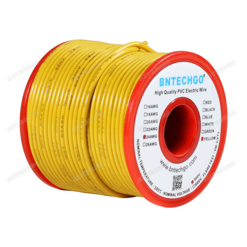BNTECHGO 24 AWG 1007 Electric wire  300V Stranded Tinned Copper Wire Yellow 100 ft Per Reel For DIY