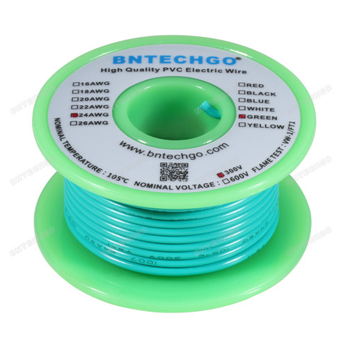 24 Gauge PVC 1007 Wire Stranded Wire Hook Up Wire 300V Stranded Tinned Copper Wire Green 50 ft Per Reel For DIY