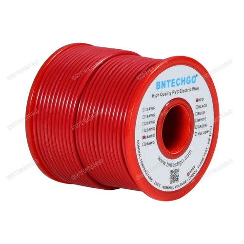 24 Gauge PVC 1007 Wire Stranded Wire Hook Up Wire Stranded Tinned Copper Wire Red 100 ft Per Reel For DIY