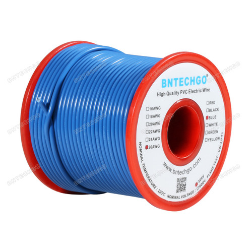 26 Gauge PVC 1007 Wire Stranded Wire Hook Up Wire Stranded Tinned Copper Wire Blue 100 ft Per Reel For DIY
