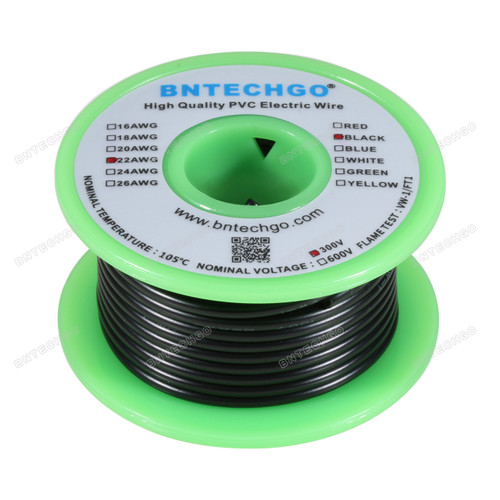 BNTECHGO 22 AWG 1007 Electric wire Solid Tinned Copper Wire Black 25 ft Per Reel For DIY