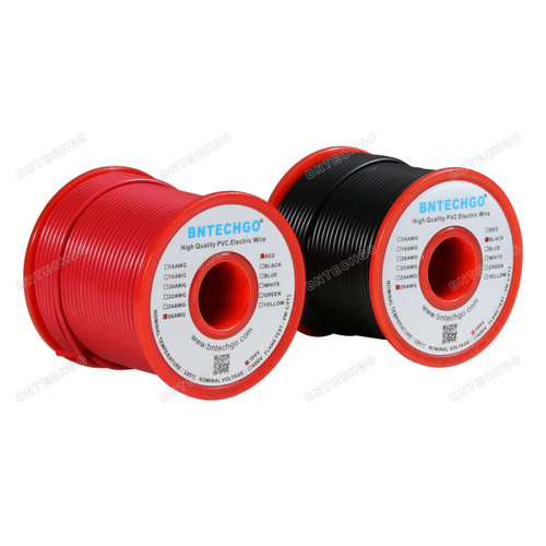 BNTECHGO 26 AWG 1007 Electric wire 300V Stranded Tinned Copper Wire Red and Black Each Color 100 ft Per Reel For DIY