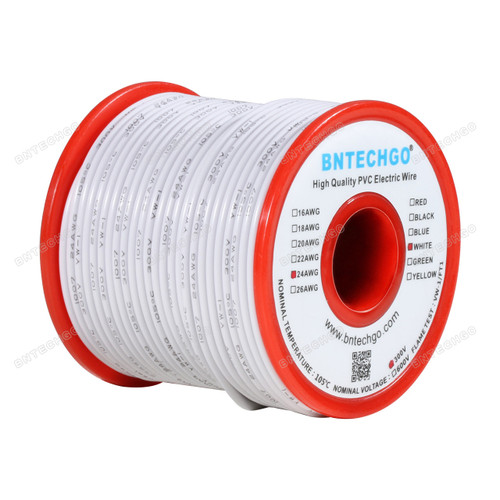 BNTECHGO 24 AWG 1007 Electric wire 300V Stranded Tinned Copper Wire White 100 ft Per Reel For DIY
