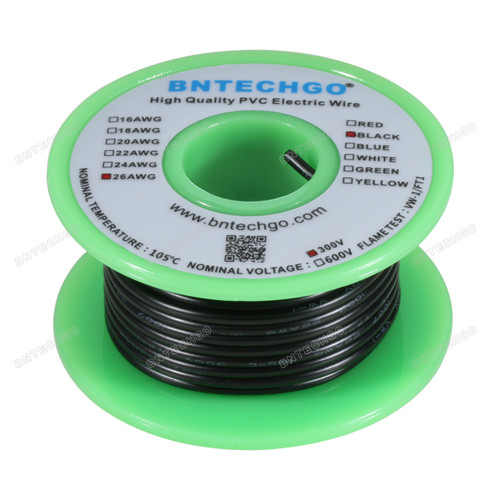 BNTECHGO 26 AWG 1007 Electric wire 300V Stranded Tinned Copper Wire Black 25 ft Per Reel For DIY