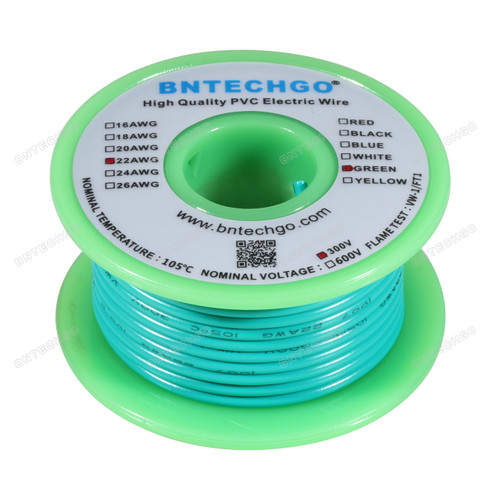 BNTECHGO 22 AWG 1007 Electric wire Solid Tinned Copper Wire Green 25 ft Per Reel For DIY