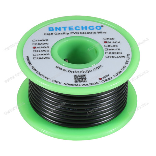 BNTECHGO 20 AWG 1007 Electric wire Black 25 ft Per Reel For DIY