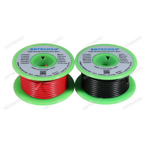 BNTECHGO 22 AWG 1007 Electric wire Solid Tinned Copper Wire Red and Black Each Color 50 ft Per Reel For DIY