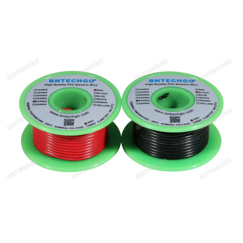 BNTECHGO 24 AWG 1007 Electric wire Stranded Tinned Copper Wire Red and Black Each Color 50 ft Per Reel For DIY