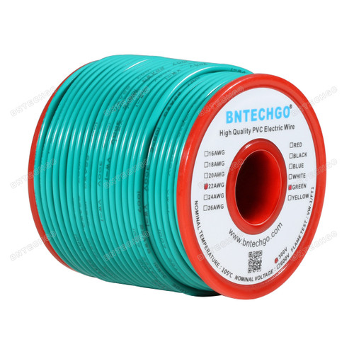 BNTECHGO 22 AWG 1007 Electric wire Green 100 ft Per Reel For DIY