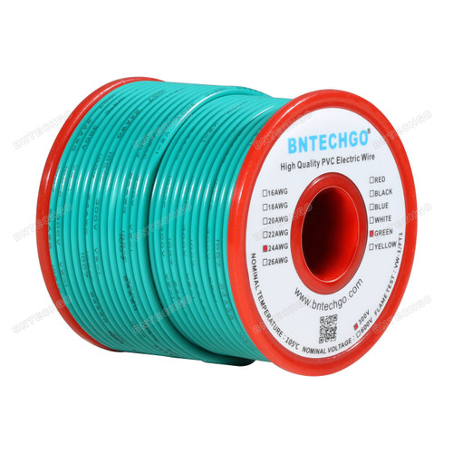 BNTECHGO 24 AWG 1007 Electric wire Stranded Tinned Copper Wire Green 100 ft Per Reel For DIY