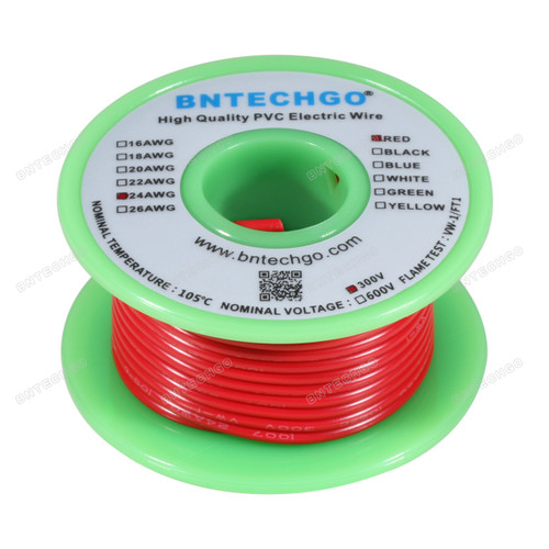 BNTECHGO 24 AWG 1007 Electric wire Stranded Tinned Copper Wire Red 25 ft Per Reel For DIY