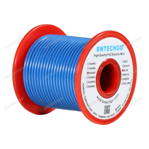 BNTECHGO 20 AWG 1007 Electric wire Blue 100 ft Per Reel For DIY