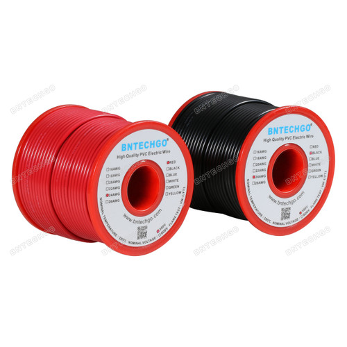 24 Gauge PVC 1007 Wire Stranded Wire Hook Up Wire Stranded Tinned Copper Wire Red and Black Each Color 100 ft Per Reel For DIY