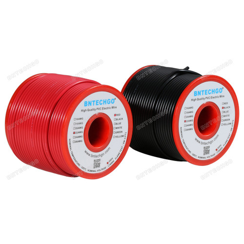 BNTECHGO 22 AWG 1007 Electric wire Red and Black Each Color 100 ft Per Reel For DIY