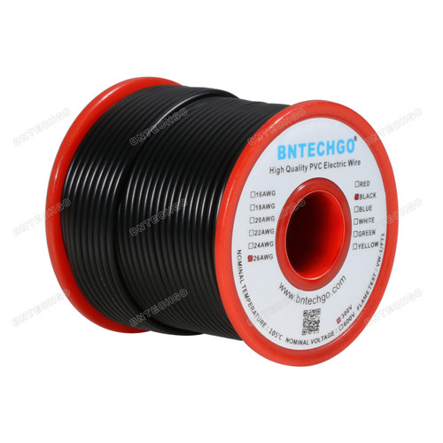BNTECHGO 26 AWG 1007 Electric wire 300V Stranded Tinned Copper Wire Black 100 ft Per Reel For DIY