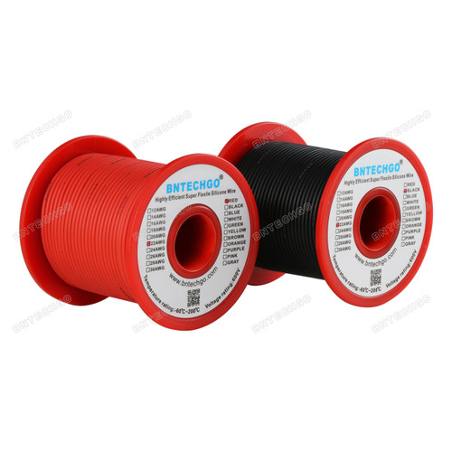 22 Gauge Silicone Wire Spool  100 ft Black and 100 ft Red