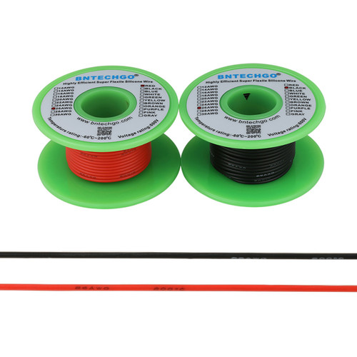26 AWG Silicone Wire Spool 200 feet Ultra Flexible High Temp 200 deg C