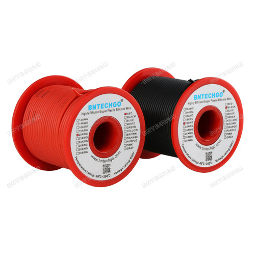 20 Gauge Silicone Wire Spool 100 ft Black and 100 ft Red