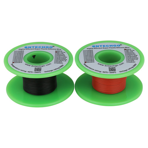 30 AWG Silicone Wire Spool Ultra Flexible 50 ft Black and 50 ft Red