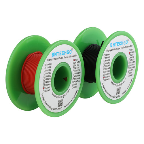 28 AWG Silicone Wire Spool 50 ft Black and 50 ft Red Ultra Flexible