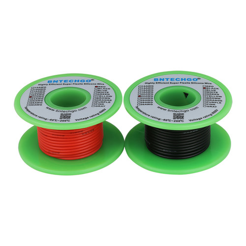 22 AWG Silicone Wire Spool Ultra Flexible 25 ft Black and 25 ft Red