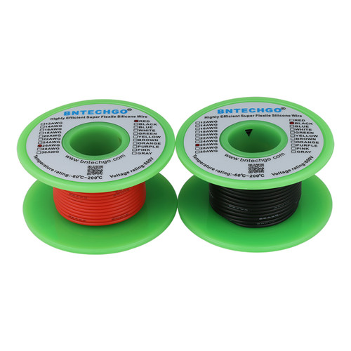 26 AWG Silicone Wire Spool  25 ft Black and 25 ft Red