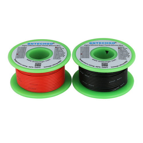 24 AWG Silicone Wire Spool 50 feet Ultra Flexible 25 ft Black and 25 ft Red