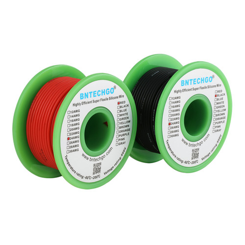 24 AWG Silicone Wire Spool Ultra Flexible 50 ft Black and 50 ft Red