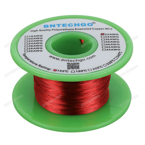 BNTECHGO 32 AWG Magnet Wire - Enameled Copper Wire - Enameled Magnet Winding Wire
