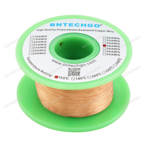 "BNTECHGO 36 AWG Magnet Wire - Enameled Magnet Winding Wire - 4 oz - 0.0049""Diameter 1 Spool Coil Natural"