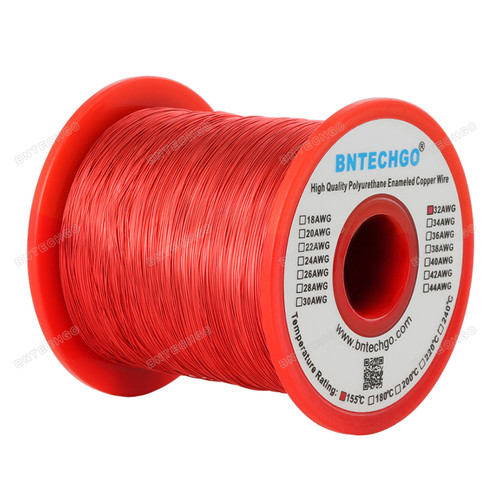 "BNTECHGO 32 AWG Magnet Wire -  1.0 lb - 0.0078"" Diameter 1 Spool Coil Red Temperature Rating 155 Degree C"