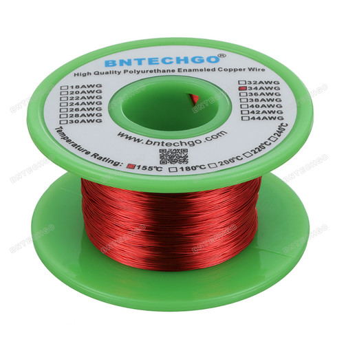 "34 AWG Magnet Wire - Enameled Copper Wire - Enameled Magnet Winding Wire - 0.0063"" Diameter 1 Spool Coil Red"