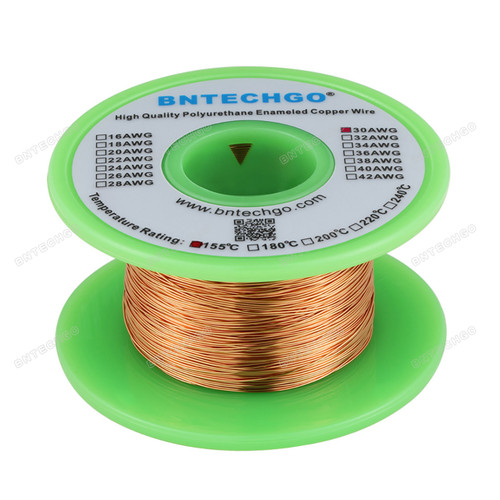 "BNTECHGO 30 AWG Magnet Wire - Enameled Copper Wire -  4 oz - 0.0098"" Diameter 1 Spool Coil Natural"