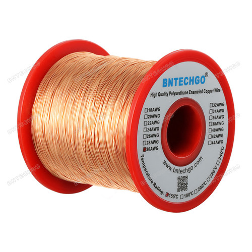 "BNTECHGO 30 AWG Magnet Wire - Enameled Copper Wire  - 1.0 lb - 0.0098"" Diameter"