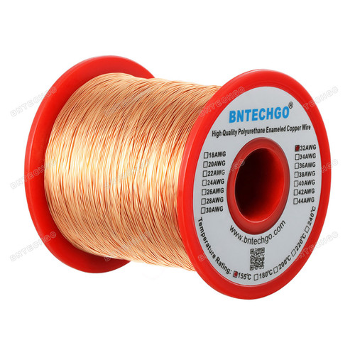 "BNTECHGO 32 AWG Magnet Wire 1.0 lb - 0.0078""Diameter 1 Spool Coil Natural Widely Used for Transformers Inductors"