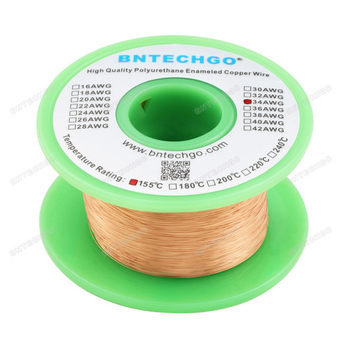 "BNTECHGO 34 AWG Magnet Wire -  4 oz - 0.0063""Diameter 1 Spool Coil Natural"