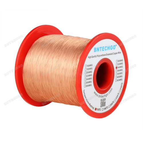 "BNTECHGO 34 AWG Magnet Wire -  1.0 lb - 0.0063""Diameter 1 Spool Coil Natural Temperature Rating 155 Degree C"