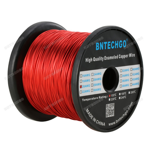 """BNTECHGO 20 AWG Magnet Wire - Enameled Magnet Winding Wire - 5.0 lb - 0.0315"""" Diameter 1 Spool Coil Red"""