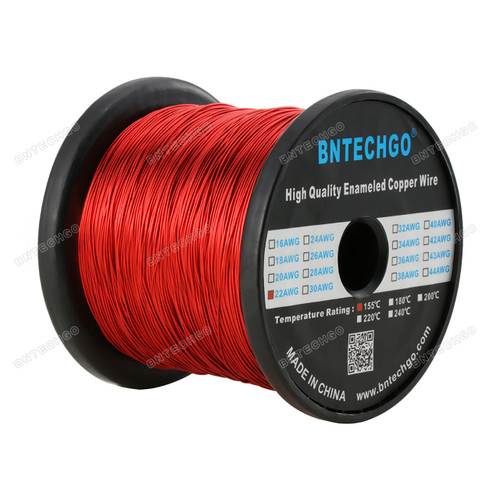 "0.0256"" Diameter 1 Spool Coil Red Perfect enameled magnet wire for implementing into your science projects"