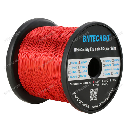 "Perfect enameled magnet wire for implementing into your science projects - 0.0197"" Diameter 1 Spool Coil Red"
