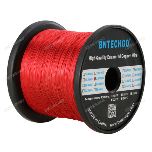 """BNTECHGO 26 AWG Magnet Wire - Enameled Magnet Winding Wire - 5.0 lb - 0.0157"""" Diameter 1 Spool Coil Red"""