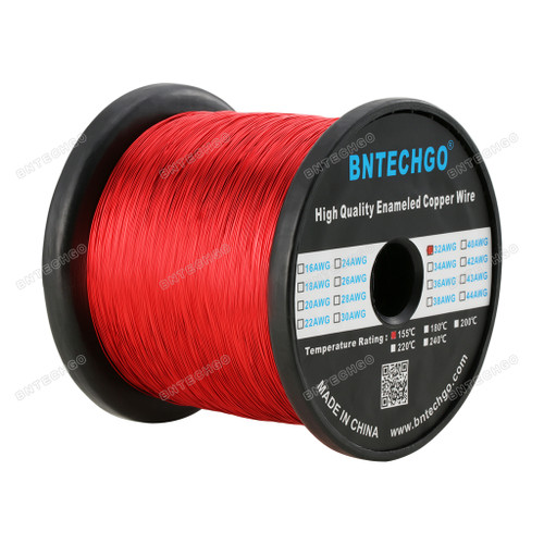 BNTECHGO 32 AWG Magnet Wire 1 Spool Coil Red Temperature Rating 155 Degree C