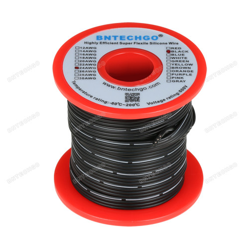 24 AWG Flexible Soft Silicone Rubber Parallel Wire Strand Wire High Temp 200 deg C 600V 4 Pin Black 25 ft